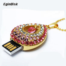 Superior quality  Necklace Pendant Usb Flash Drive 8GB 16GB 32GB 64GB Beautifully Gift Pen  drive Crystal Diamond Sweet Heart Me