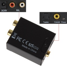 NEW Hot D to A Digital Optical Coaxial Toslink Signal to Analog Audio RCA Converter Adapter without Power Supply