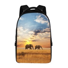 Casual laptop backpack can be easily stored 15-inch computer school bag student backpack African elephant pattern