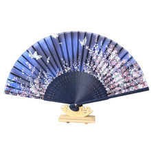 21cm Bamboo & Fabric Vintage Japanese Silk Butterflies Folding Hand Fan Wedding Party Prom Supplies(China)