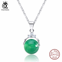 ORSA JEWELS Fashion 925 Sterling Silver Pendant Necklaces with Shiny Green Cat's Eye Stone for Women Genuine Silver Gift SN01