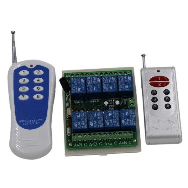 12V 8 Ways Wireless Digital Remote control Switch With 2 Transmitter + receiver 315/433 MHZ, Latch/Momentary/Toggle SKU: 5008<br><br>Aliexpress