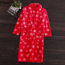 Women Elegant Snowflake Printed Robe Autumn/Winter Nightgown Home Wear/Hotel Wear Soft Bathrobes Bath Gown Sleepwear(China)