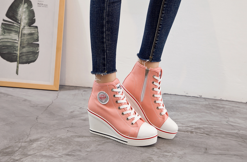 Women's Shoes Hidden Wedge Heel Shoes 18 Women Casual Shoes Canvas Sneakers High Top Breathable Platform Chaussure Femme 12