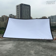 Hot Selling 180 Inches 16:9 White Fabric Projection Film Curtains Projector Screen for Home Cinema Movie Business Church etc.