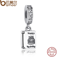 Authentic 925 Sterling Silver Happy Birthday Cake Wishes Dangle Clear CZ Charm Fit Original Bracelet Jewelry PAS151(China)