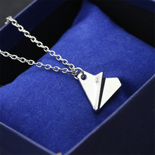 RONGQING 1Pcs Girl Jewelry Fashion Origami Plane Pendant Necklace Children Gift Idea Aircraft Chain Necklace Collars(China)