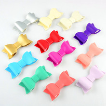 wholesale kids DIY Lovely Solid Handmade Two Layer Leather bow For Girls Boutique silver gold bows Hair Accessories 24pcs