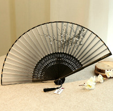 Raw silk fan, Chinese handicrafts, Chinese style ladies wind craft fan silk fan cherry fan antiquity folded small