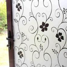 200* 60CM /200*45CM PVC Frosted Opaque Glass Window Film Privacy Glass Stickers Home Decor Black&white Wrought Iron Flower