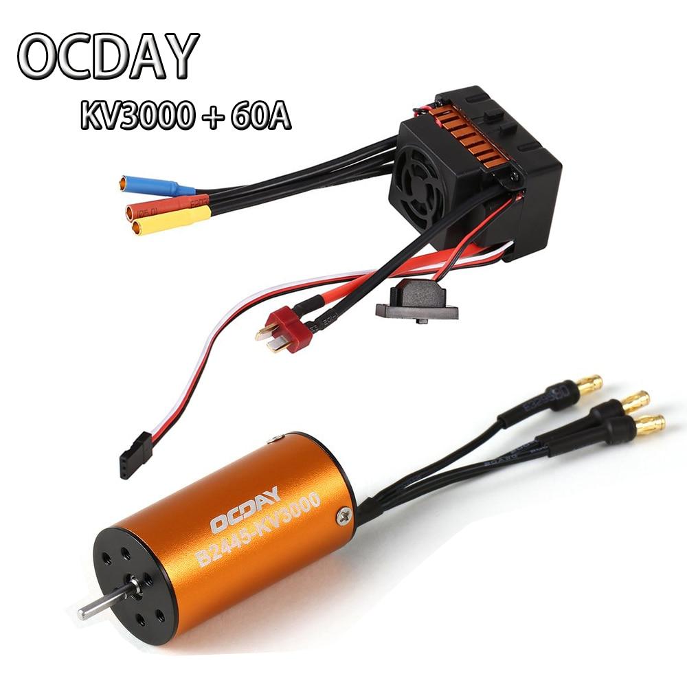 OCDAY Motor 2445 KV3000+ ESC 60A Brushless Motor Waterproof for 1/16 1/18 RC Car<br>