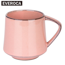 European Style 5 Colors Retro Kiln Glazed Coffee Mug Creative Couple Milk Cup Flower Cup