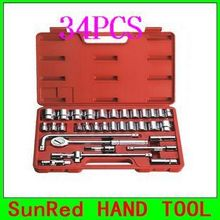 "BESTIR 34PCS 12.5MM 1/2"" 6pt  wrench socket tool set with 3 Way Adapter Automobile Maintenance Tools NO.91326 Best Selling"