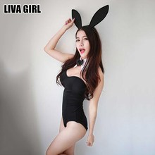 Buy Liva Girl Fashion Novelty Black Bunny Lingerie Bunny Girl Sexy Costumes Intimate Sex Products Erotic Lingerie Female