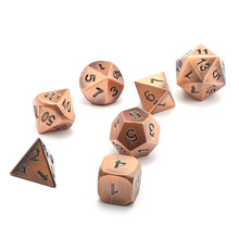 7Pcs Pack Solid Metal Polyhedral Dice Set with Dice Bag Role Playing Games Parties Entertainment Gifts for TRPG Game Lovers(China)