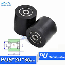 [PU30-30RS] High quality low noise 30mm*30mm TPU PU rubber double ball bearing Black wheel sliding guid wheels(China)