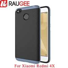 RAUGEE Original Case For Xiaomi Redmi 4X Shield Matte Carbon Fibre Case Cover TPU PC Soft Silicon Case Hard Frame For Redmi 4X