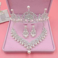 Luxury Hair Accessories For Brides Crystal Pearl Floral Tiaras Necklaces Earring Sets Wedding Crown Party Prom Hair Jewelry