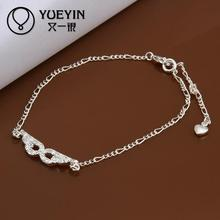 Fashion silver plated Jewerly Anklets for Women barefoot sandals jewelry Wholesale Cheap Ankle chain(China)