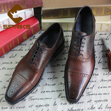 Sipriks Mens Square Toe Punched Leather Shoes Unique Hand Painted Cap Toe Oxfords Shoes Men Goodyear Welted Wingtip Dress Shoes