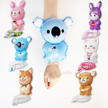 Lucky 50pcs/lot Cute Animals Rabbit&Bear&Dog&Donkey&Cat Foil Balloons Party Decoration Globos Baby Shower Toys Wristband Balloon