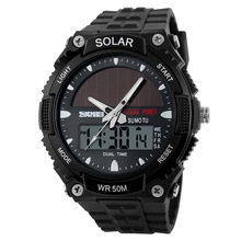 2017 New Solar Power Watch SKMEI Brand Men Sports Watches 2 Time Zone Digital Quartz Multifunctional Outdoor Dress Wristwatches