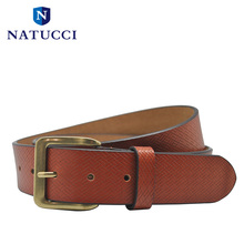 2016 New Luxury Leather Men's Belt High Quality  Plaid Pattern Strap Brass Needle Buckle For Men's Jeans(Red Brown)