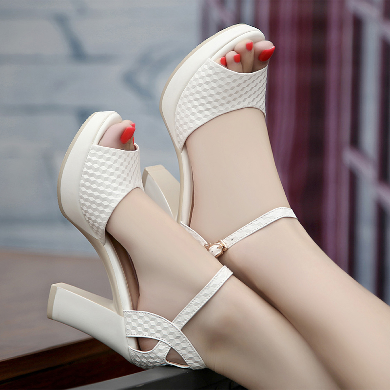 2016 summer women thin high heels peep toe pumps buckle rhinestones platform sandals PU leather fashion sandals large size shoes<br><br>Aliexpress