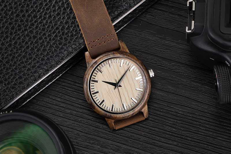 17Men's Clock Black Vintage Saat Wooden Watches With Real Leather Band Design Man Top Brand Quartz Watches Round With Gift Box 15