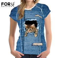 FORUDESIGNS New 3D Jeans Cat Dog T Shirt Women Pretty Brand Clothes Casual Tops Tees Blusa Plus Size Female O Neck T-shirt Girls
