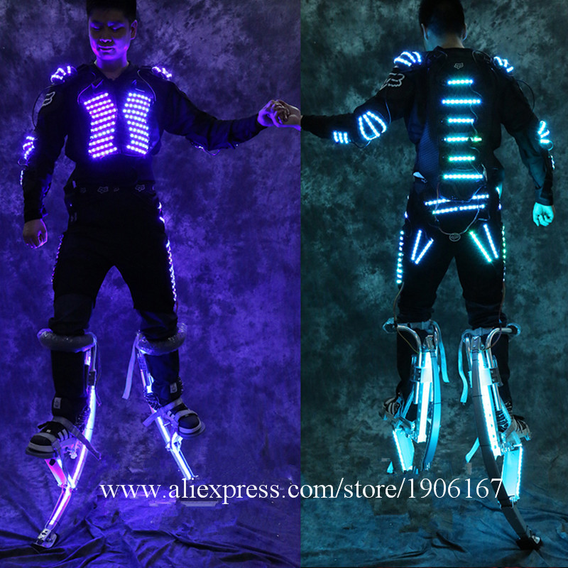 Newest Led Luminous Stilt Robot Performance Costume With LED Helmet Illuminated LED Clothing Growing Light Kryoman Robot Suit2