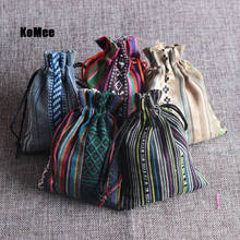 New Pouches 50Pcs Multi Colors Stripe Tribal Tribe Drawstring Jewelry Gift Bags Cotton Cloth Chinese Ethnic Style 9x13cm