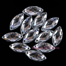 Horse Eye / Leaf 6x12mm/ 9x20mm Acrylic Rhinestones Flatback Sew On Diamond Sew-On Rhinestone Beads 2 Holes 5x10mm Black