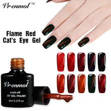 Vrenmol 8ml Red Flame UV Fire Cat Eye Nail Gel Polish Shining Color Varnish Soak Off 3D Magnet DIY Manicure Lacquer New Arrival