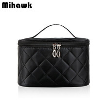 Diamond lattice Cosmetic Bag Box With Mirror Travel Organizer  Makeup Case Beauty Brushes Toiletry Storage Accessories Supplies
