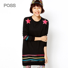 PASS Spring Autumn New Long Sleeve Dress Embroidery Hollow Out Straight Loose Fashion One Piece Dress