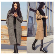 spring autumn women fashion open super long knitted cardigans sweater free shipping