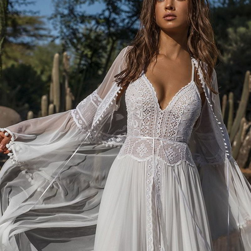 Sexy Party White Lace Long Dress Elegant Evening 2 Piece Women See Through Backless Summer Boho Robe Deep V Chiffon Maxi Dresses