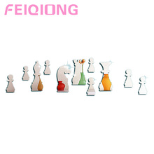 New 11pcs International Chess Wall Stickers 3D Mirror Wall Decal Home Decoration Silver Simple
