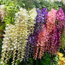 Long Artificial Wisteria Flower with Leaves Rattan Vines Wedding Marrige Party Garlands Floral Decoration Home Ornament 110cm