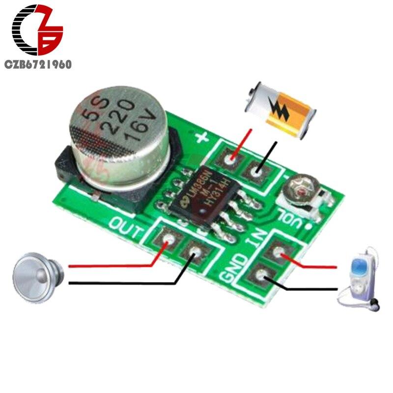 High Efficiency DC 3V-12V 5V Adjustable MINI LM386 Ultra-miniature Electret Audio Power Amplifier Board Micro Amp Module 2