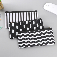 New Modern Wave stripe canvas pencil case Black & White pencilcase pencil box bag Stationery office school supplies Gifts(China)
