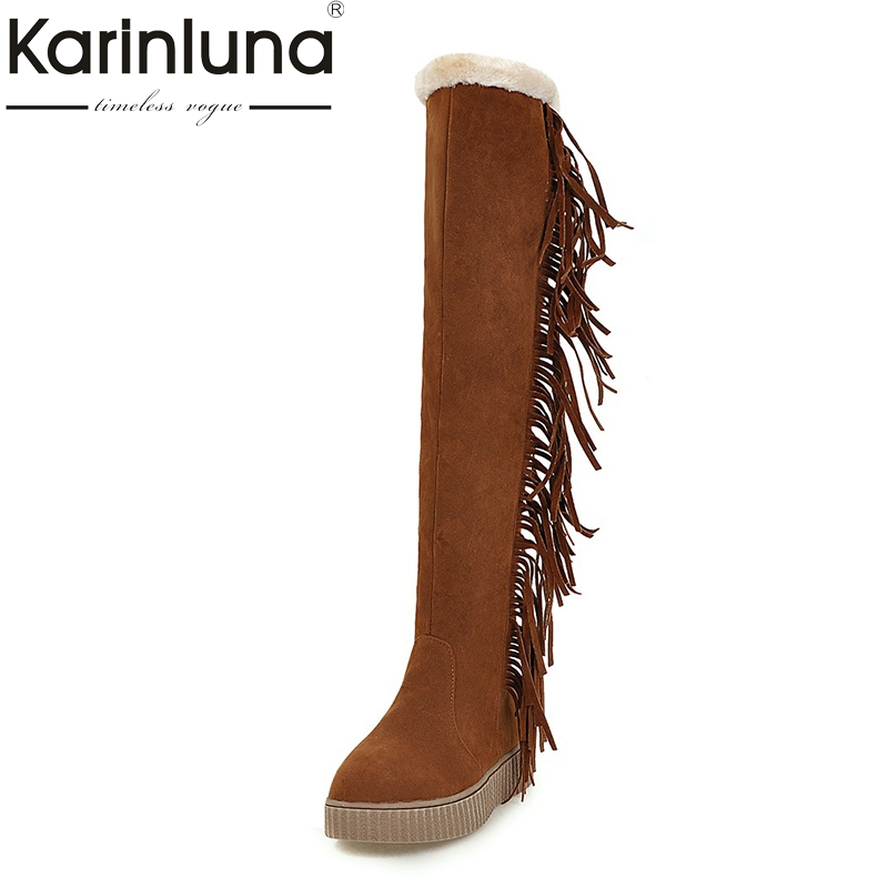 KARINLUNA large size 34-43 thick bottom flat women shoes woman casual fringe add warm fur snow boots black footwear<br>