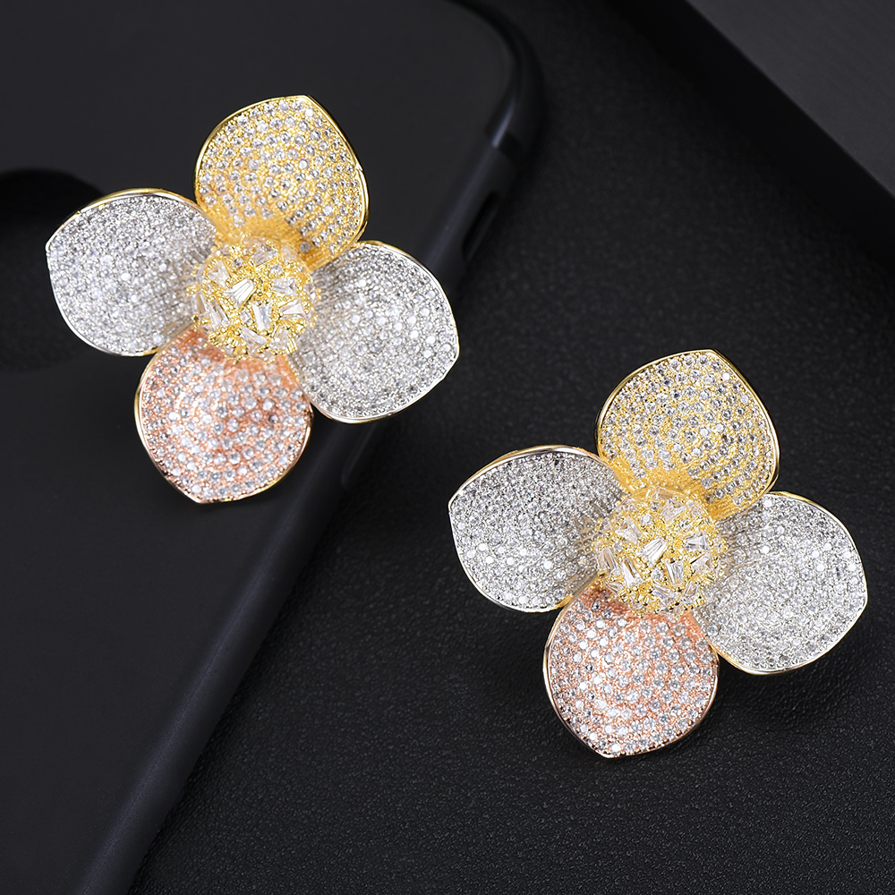 GODKI Trendy Luxury Big 3 Tone Blossom Flower Stud Earrings For Women Wedding Cubic Zircon CZ Indian Bridal Earrings Bohemia Hot