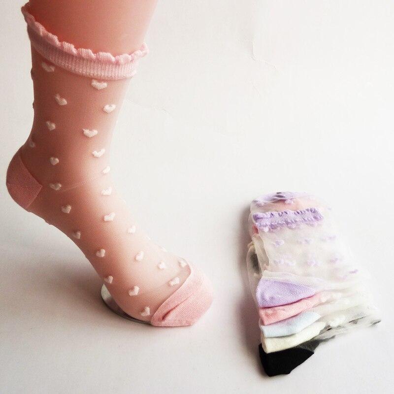 Fashion Women Heart Pattern Ultra Thin Transparent Crystal Glass Silk Socks