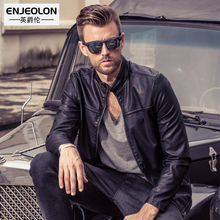 Enjeolon brand new PU Motorcycle male Leather Jackets, fashion men Clothing, zipper Stand collar Male Casual black Coats P209(China)