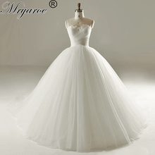 Mryarce Simple Strapless Princess Wedding Dresses Long Tulle Pleats Feathers Wedding Gowns Bridal Dress(China)