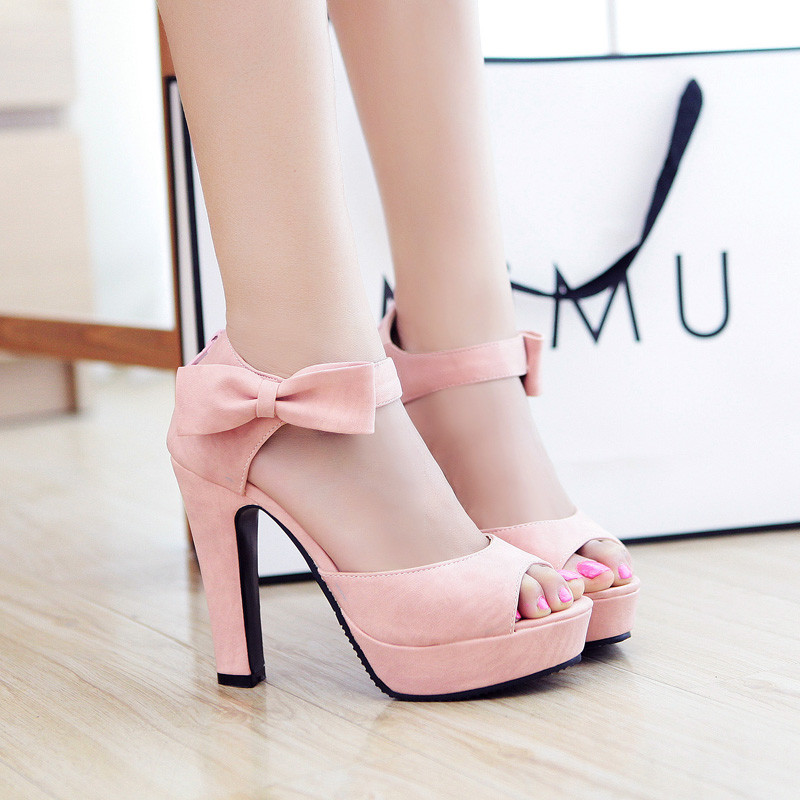 Summer Sandals Female High-heeled Fish Mouth Shoes with Thick Sweet Bowknot  Zipper Waterproof Casual Shoes 33-43<br><br>Aliexpress