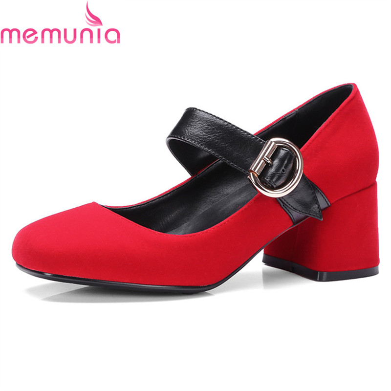 MEMUNIA new arrival hot sale 2018 retro pumps women shoes thick high heels round toe simple comfortable ladies shoes<br>