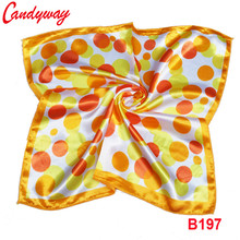 50x50cm Yellow Scarve Headscarf scarf Silk Accessories Head neckerchief elegent Fashion Printed Orange Fashion Ladies BB197